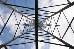 Metal Structures Tower Power Lines Perspective Daytime Blue Sky Royalty Free Stock Photo