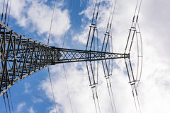 Metal Structures Tower Power Lines Perspective Daytime Blue Sky Royalty Free Stock Photos