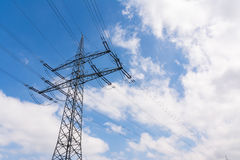 Metal Structures Tower Power Lines Perspective Daytime Blue Sky Stock Images