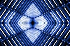 Metal struktura jednakowa statku kosmicznego wnętrze w błękita świetle fotografia royalty free