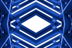 Metal struktura jednakowa statku kosmicznego wnętrze w błękitnym brzmieniu zdjęcie royalty free