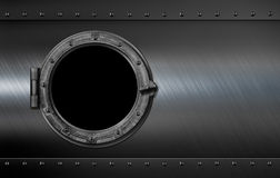 Metal submarine or ship porthole window 3d illustration Royalty Free Stock Photo