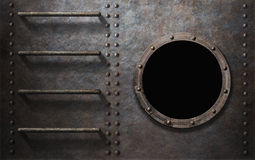 Metal submarine or ship side with stairs and porthole Royalty Free Stock Images