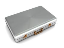 Metal suit case. 3d illustration of metal suit case on white background Royalty Free Stock Photo