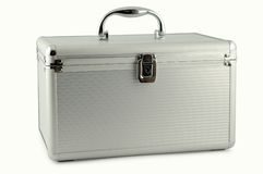 Metal suitcase. For travel, white background and clipping path stock image