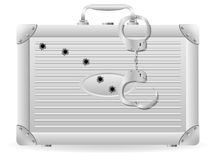 Metal suitcase with handcuffs riddled Royalty Free Stock Images
