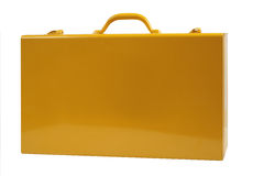 Metal suitcase yellow Stock Images