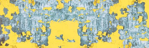Metal surface with peeling paint texture, wide grungy urban background royalty free stock photo