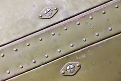 Metal surface with rivets Stock Photo