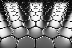 Metal surface of steel hexagons perspective view Stock Image
