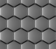 Metal surface of steel hexagons seamless background Royalty Free Stock Images