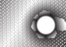 Metal surface and tear hole background Royalty Free Stock Photo