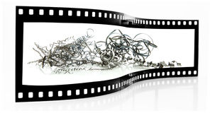 Metal Swarf film strip Stock Photo