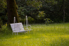 Metal swing bench painted in white on a lawn. In a park royalty free stock photography