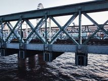Metal symbol london bridge central bank details eye. Water river Thames city centre Stock Image