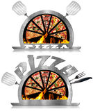 Metal Symbol of Pizza with Flames Royalty Free Stock Photos