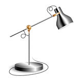 Metal table lamp with joint and shiny chrome shade Royalty Free Stock Photography