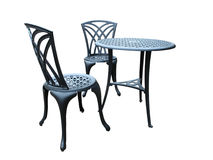Metal Table with Two Chairs Royalty Free Stock Photography