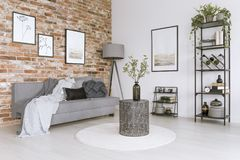 Metal table in living room. Metal table with a vase on white round carpet next to grey couch with blanket and lamp against brick wall with paintings in living vector illustration