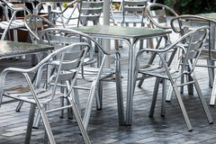 Metal tables and chairs Royalty Free Stock Image