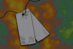 Metal tags III. Rendered drawing of a pair of silver metal tags with cool background vector illustration