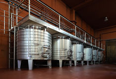 Metal tanks for wine fermentation process Stock Photography