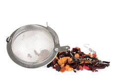 Metal tea strainer with fruit tea Stock Photo