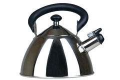 Metal teapot. New and brilliant metal teapot on a white background Stock Photo