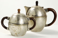 Metal teapot and sugar bowl Stock Photography
