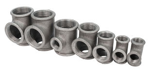 Metal tee fittings Stock Photos
