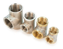 Metal tee fittings Royalty Free Stock Images