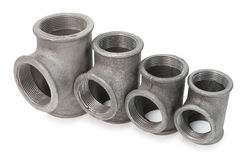 Metal tee fittings. Various metal tee fittings with inner thread, for pipes royalty free stock image