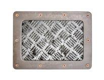 Metal tekstury wzoru styl stalowy tło talerz z ramą Obrazy Royalty Free