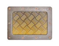 Metal tekstury wzoru styl stalowy tło talerz z ramą Obrazy Stock