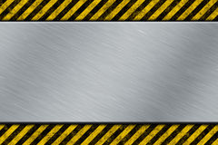 Metal template with warning stripe Stock Image