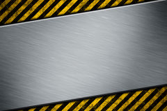 Metal template with warning stripe Royalty Free Stock Photos