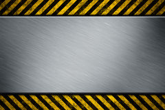 Metal template with warning stripe Stock Photo