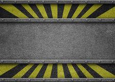 Metal template with warning stripes background iron plate Royalty Free Stock Photography