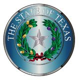 Metal Texas State Seal. The seal of the United Steas of American state TEXAS isolated on a white background Stock Photo