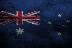 Metal a textura ou o fundo com mistura da bandeira de Austrália Imagem de Stock