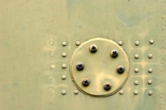 Metal Texture. Closeup of rivets on old tank Stock Photo