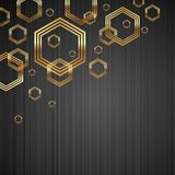 Metal texture background with golden hexagons stock illustration