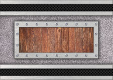 Metal texture background with wood inserts for design. Metal plate with mesh and wooden inserts for design Stock Image