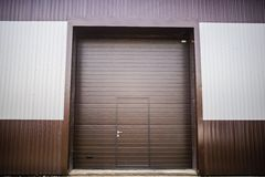 Metal texture brown and white siding Stock Images