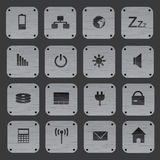 Metal texture buttons with replaceable computer icons eps10 Royalty Free Stock Image