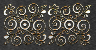 Metal texture with classic ornament Stock Photo