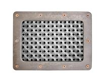 Metal texture with holes plate with metal frame and screws Stock Images