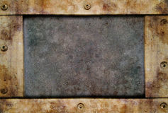 Metal texture with riveted border Stock Photos