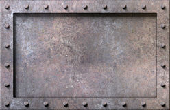 Metal texture with rivets background Stock Photography