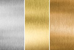 Metal textures gold, silver and bronze. Collection Stock Photography